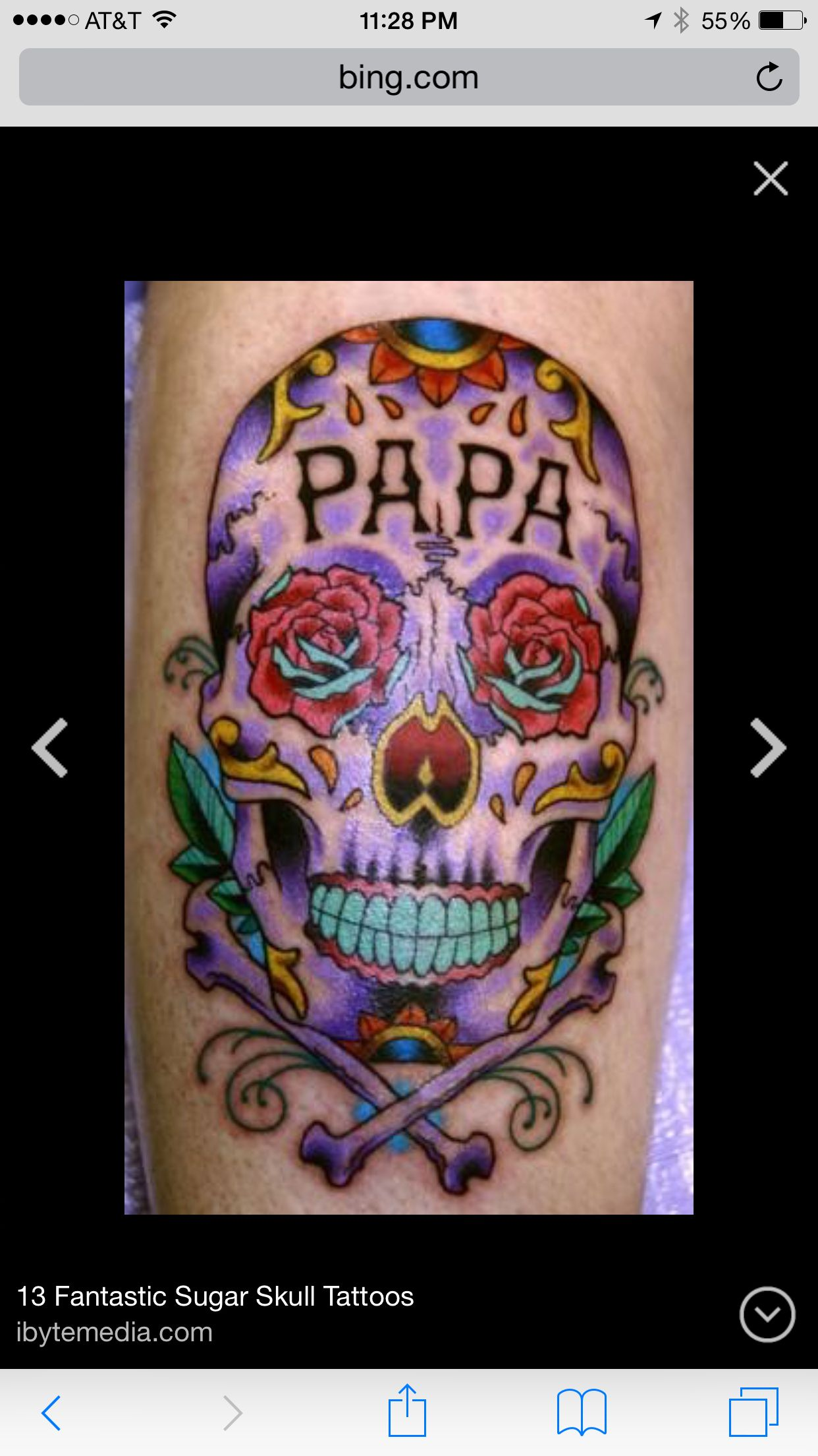 Tattoo, colorful, sugar skull, roses,