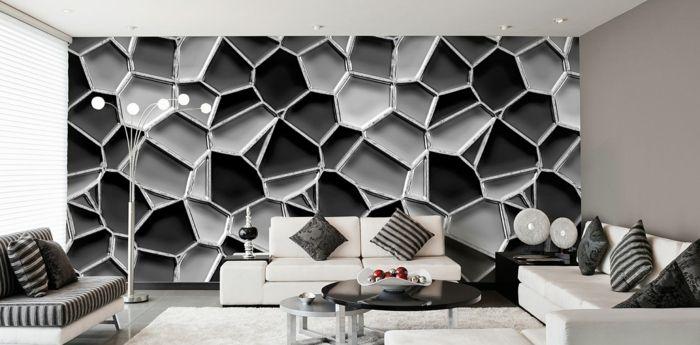 Wunderbar Muster In Schwarz Weiß Wandgestaltung Mit Farbe Wandgestaltung Schwarz Weiß  Wohnzimmer Einrichten Organisch
