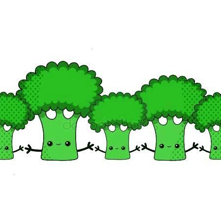Hand drawn vector kawaii broccoli endless pattern. Cartoon flat broccoli clip ar ,