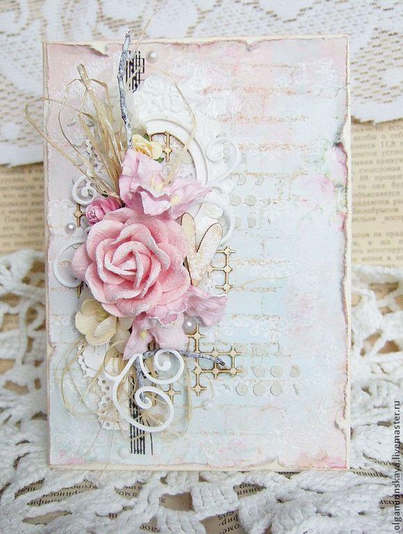 Цветы на открытке скрапбукинг