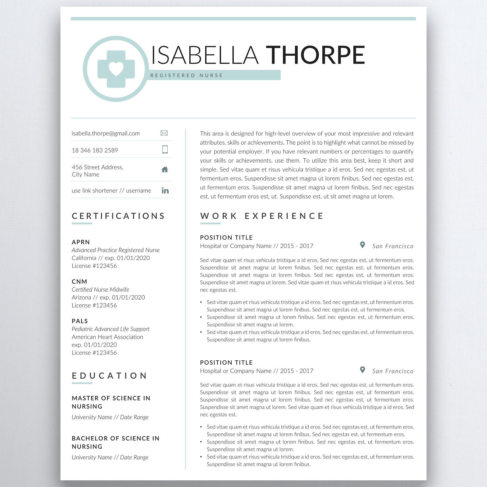 Pin On Medical Resume Template