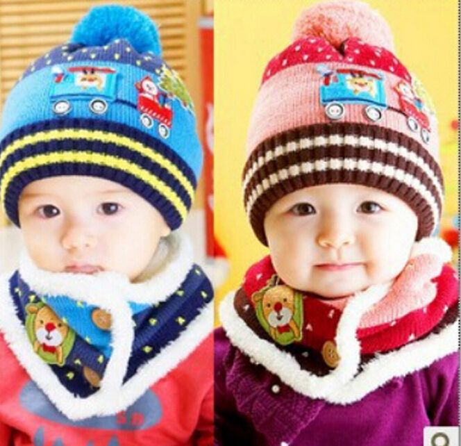 Click to Buy    1 Set Winter Warm Baby Ear Protection Knitted Hat ... 5fcd54764915