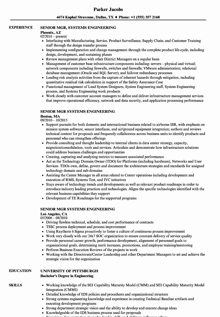 23 Systems Engineering Resume Examples in 2020
