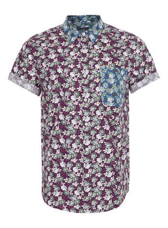 Purple And Blue Mixed Rose Print Short Sleeve Shirt- Topman price: £28.00