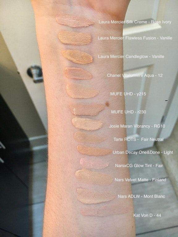 Swatches Of All My Foundations Fair To Light Palemua