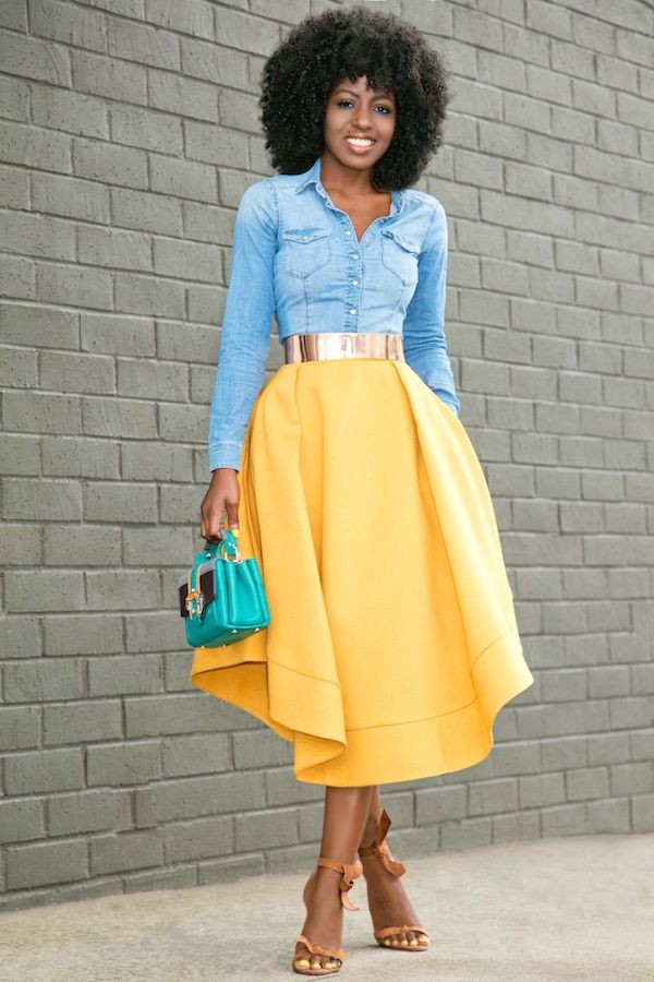 Style Pantry | Fitted Denim Shirt + Waves Midi Skirt