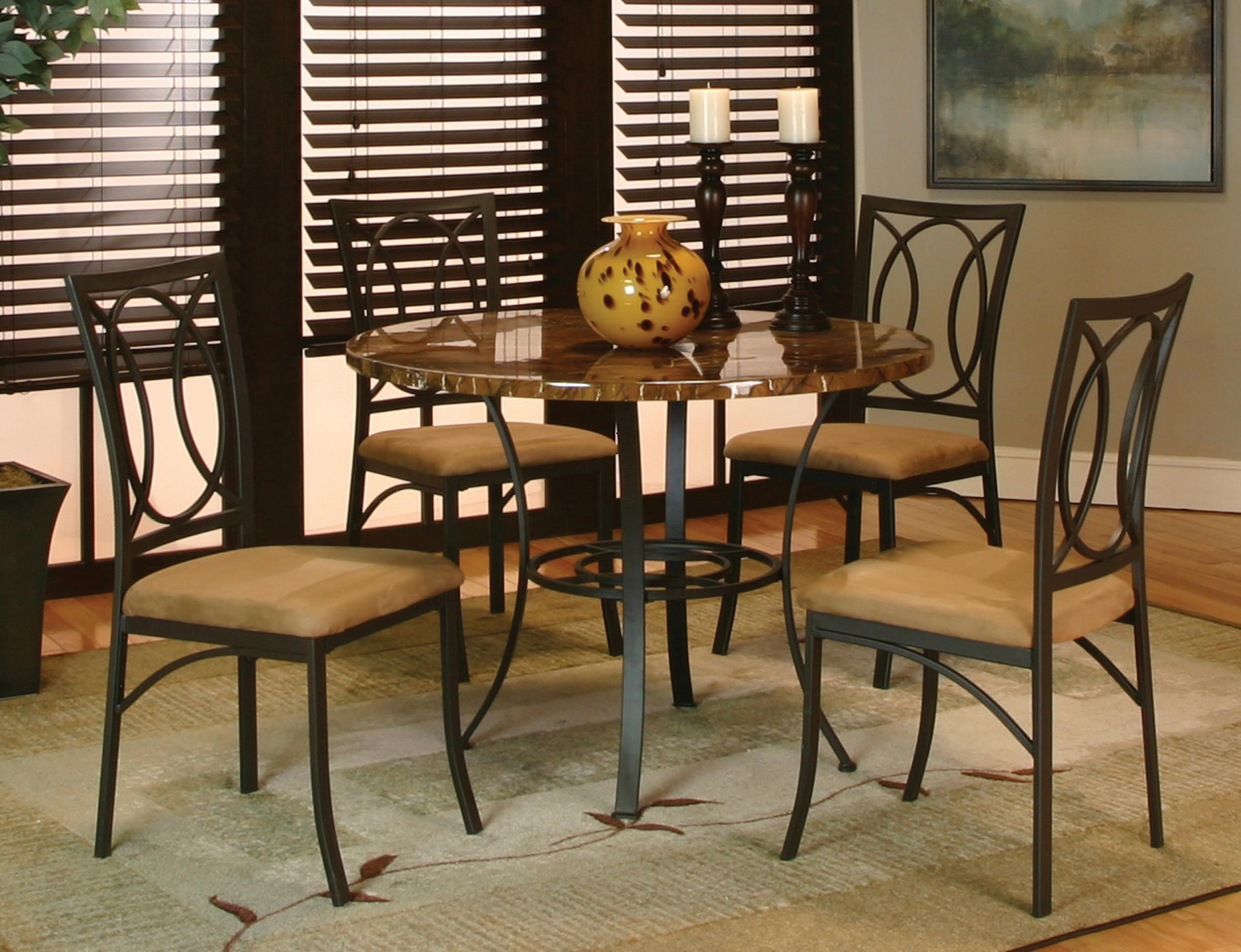 Kaden 5 Piece Dining Set This Very Attractive Features A 42 Round Faux Marble Table Top In Caramel Black Wrought Iron Base And Well Scaled Chairs