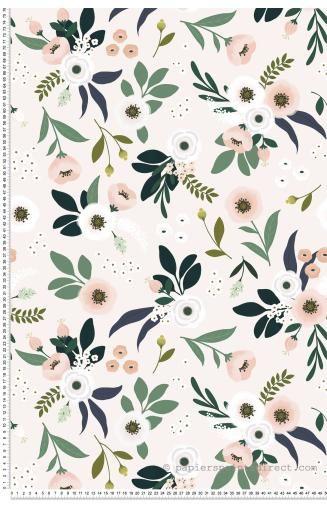 Papier peint fleurs fond rose – Papier peint Lilipinso