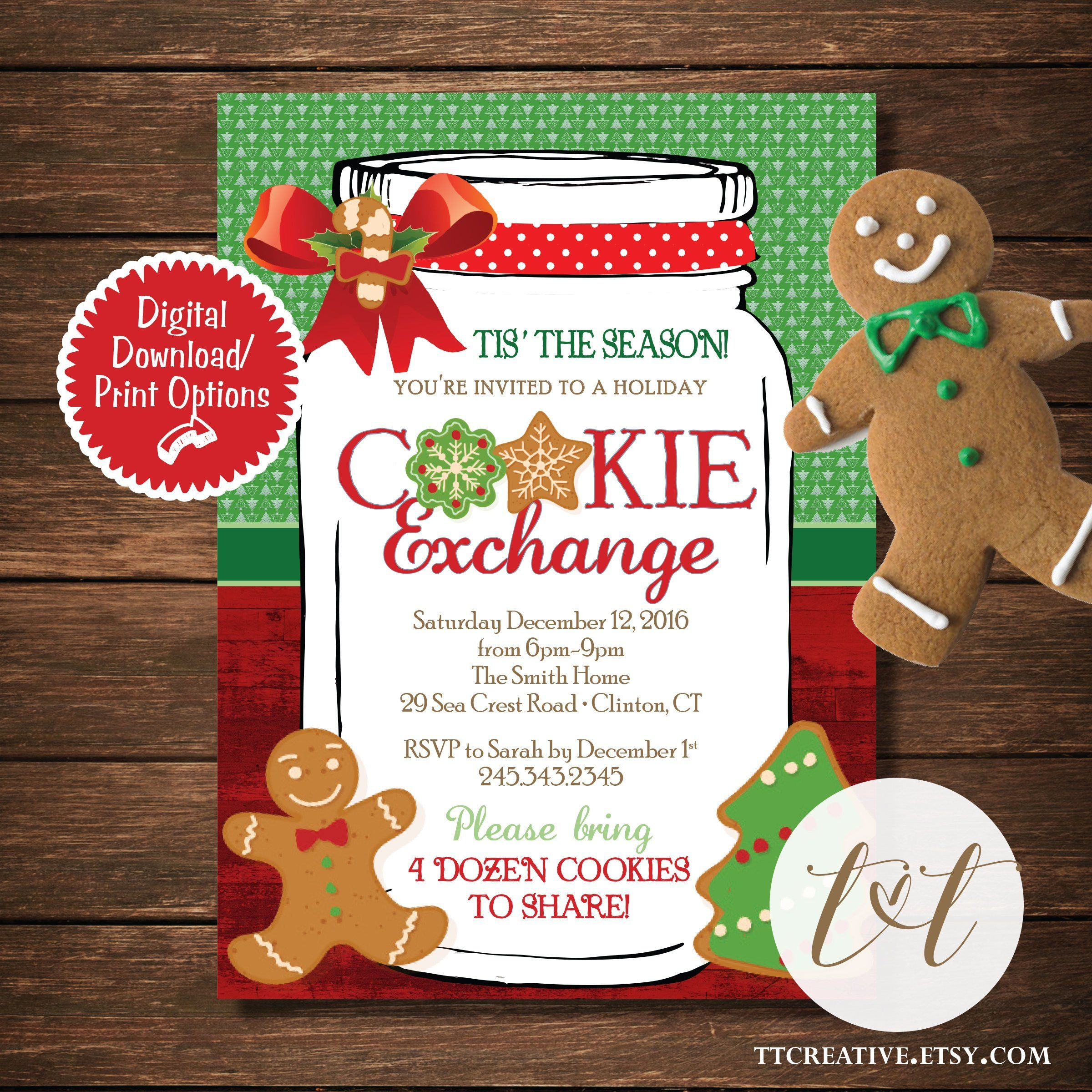 Christmas Cookie Party Invite.Cookie Exchange Holiday Party Invite Rustic Mason Jar