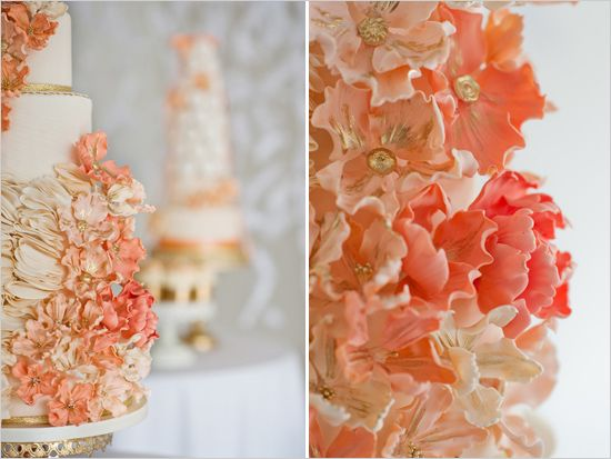 White Gold Peach C Wedding Cake With Sugar Flowers