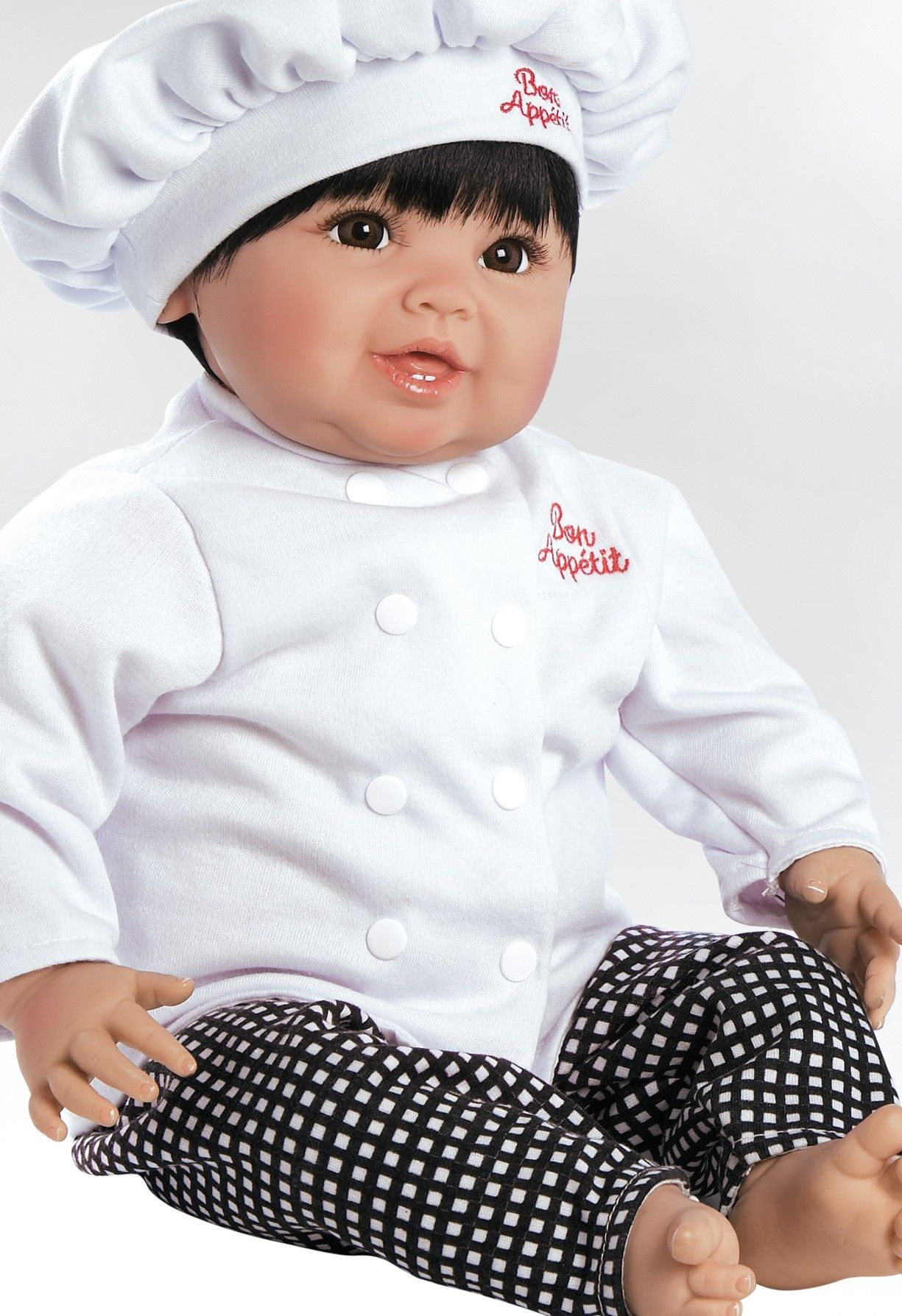 Realistic Asian Baby Doll Chef Doll Bon Appetit 20 inch