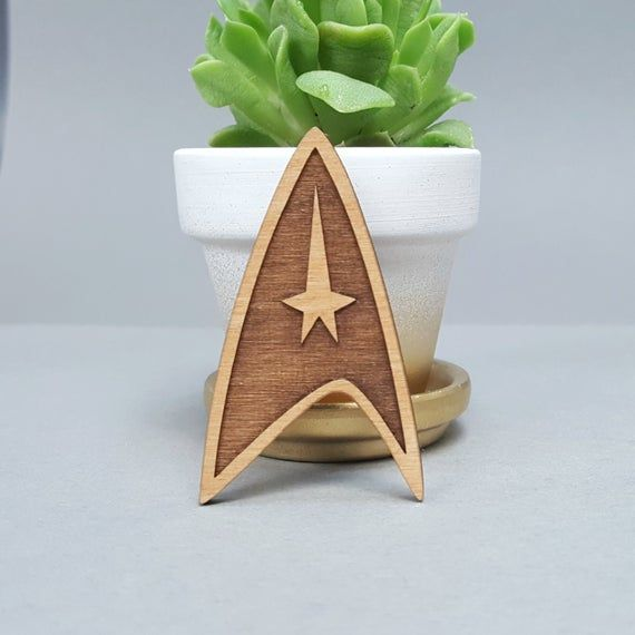 Laser Engraved Wood Lapel Pin: Star Trek Insignia Badge