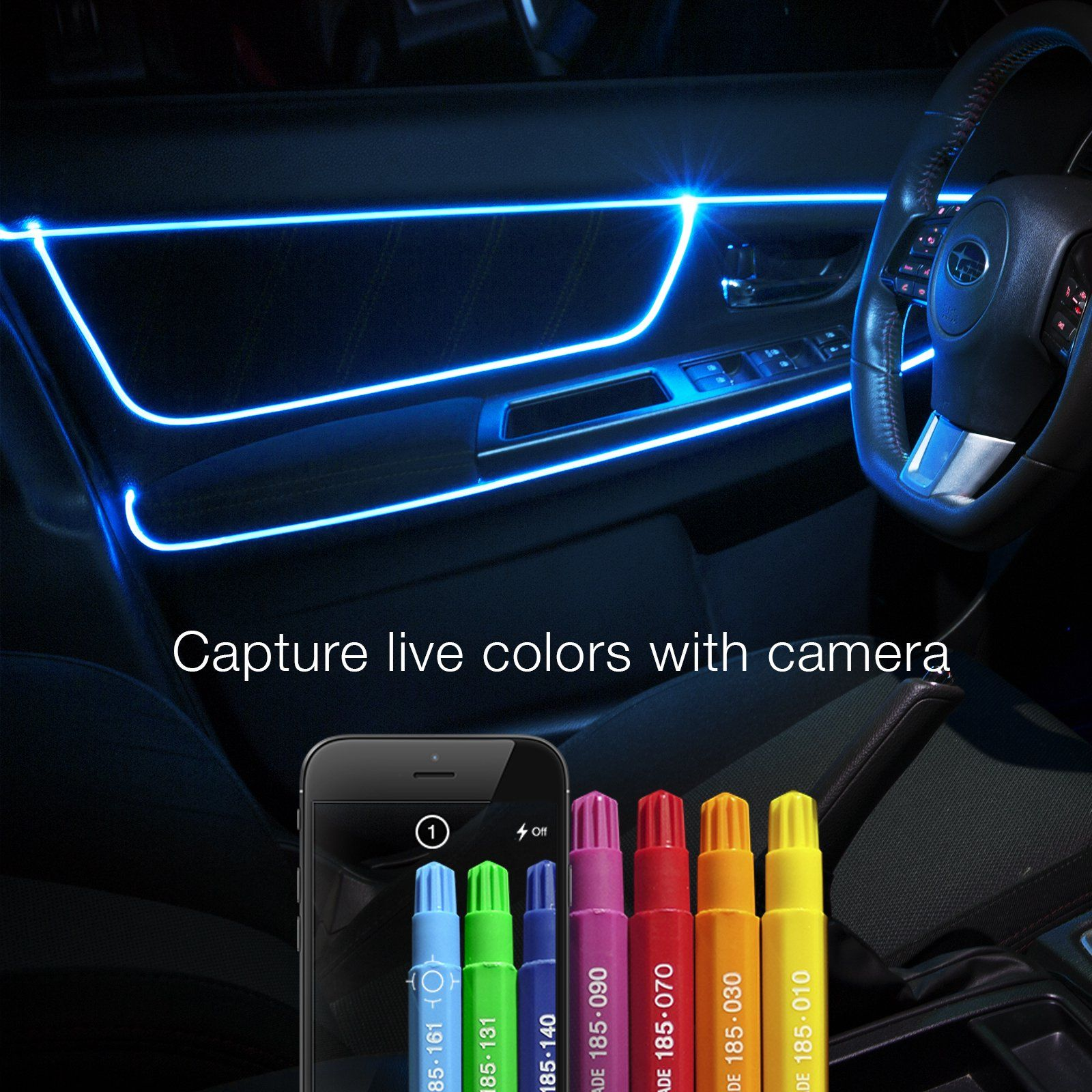 6ft Fiber Optic Roll 3pc Led Head Xkchrome App Controlled Fiber Optic Led Accent Light Kit Walmart Com Fiber Optic Car Led Lights Car Led