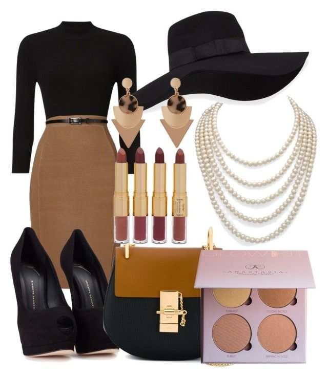 """Untitled #53"" by shelly-marie-bulanon ❤ liked on Polyvore featuring Phase Eight, Giuseppe Zanotti, Chloé, tarte, DaVonna and San Diego Hat Co."