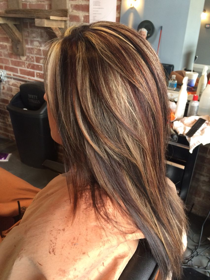 Can you say wow dark brown blonde and red highlights and lowlights