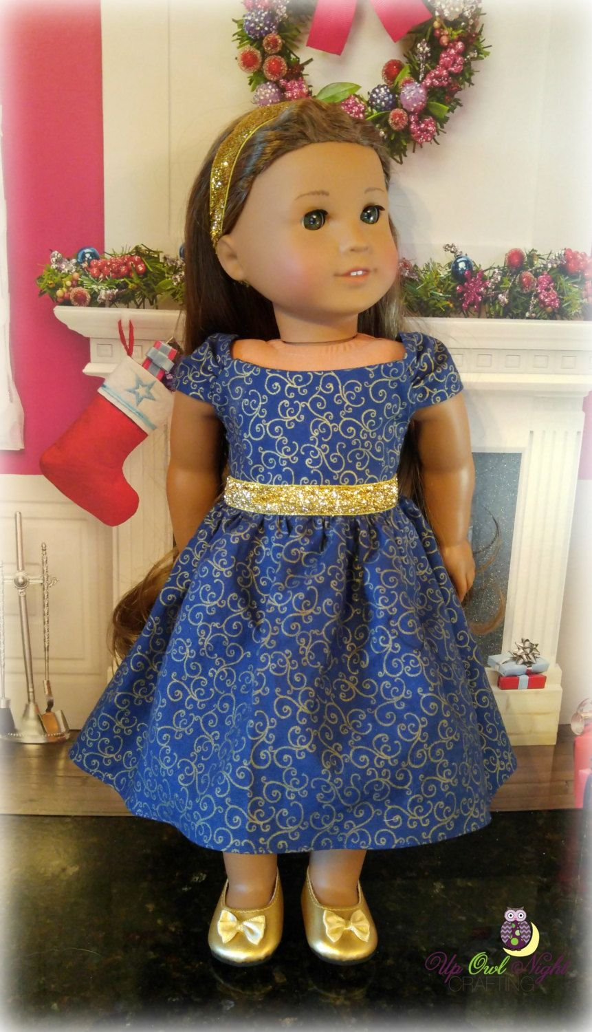 Holiday Christmas Dress in Navy and Gold for your 18 inch doll by UpOwlNightCrafting on Etsy - pinned by pin4etsy.com