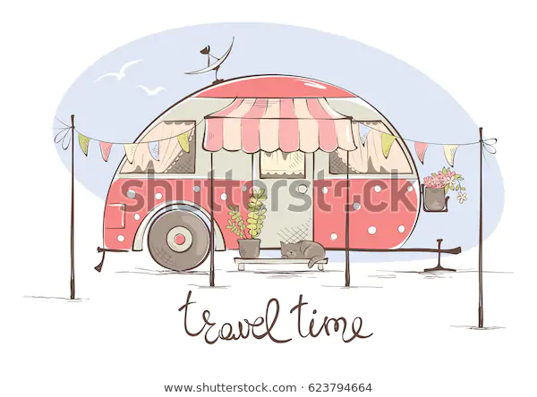 Summer Travel House On Wheels Funny Stock Vector Royalty Free