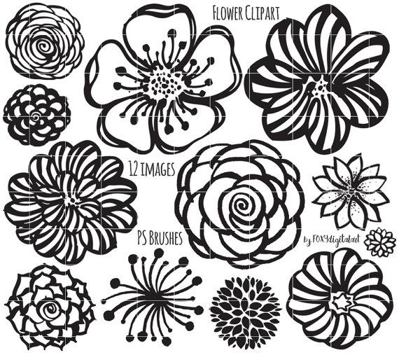 Flower Clipart Hand Drawn Flower Outline Digital Stamp Silhouette Png Photoshop Brush Flower Doodles Hand Drawn Flowers Flower Doodles Flower Drawing