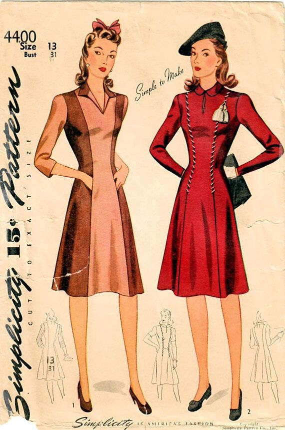 1940s Simplicity 4400 Vintage Sewing Pattern Juniors Princess Dress ...