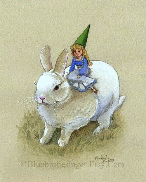 White Rabbit Bunny and Lady Gnome Art Print by BluebirdieBootique