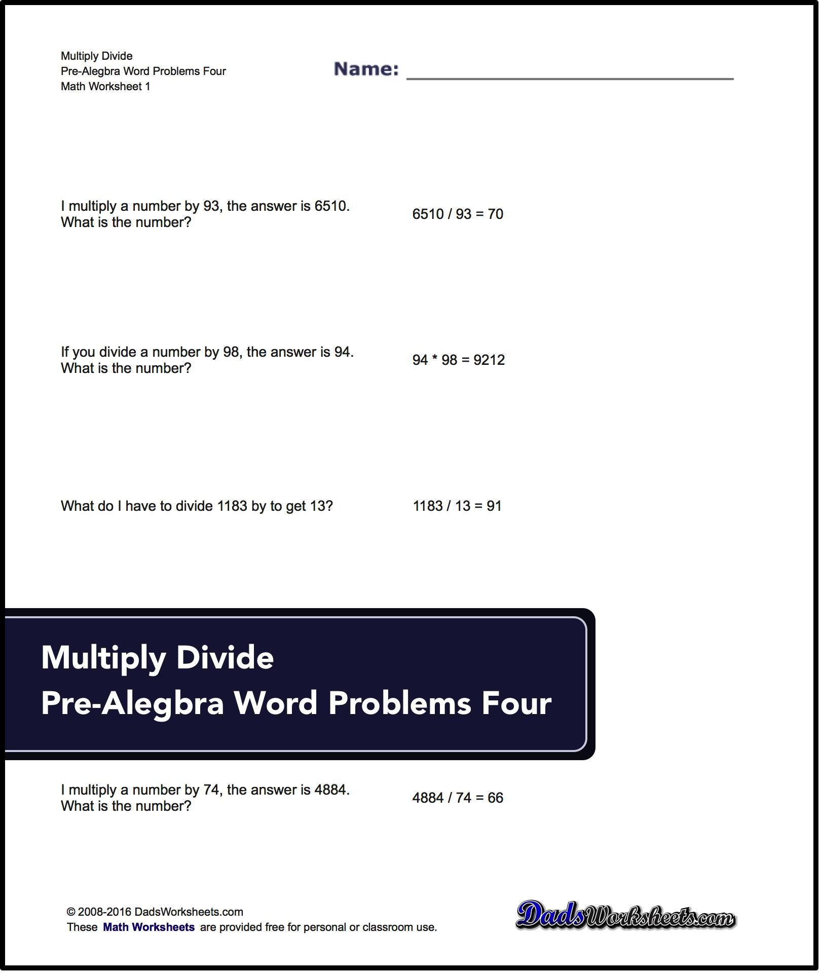 Multiply And Divide Pre Algebra Word Problems Multiply