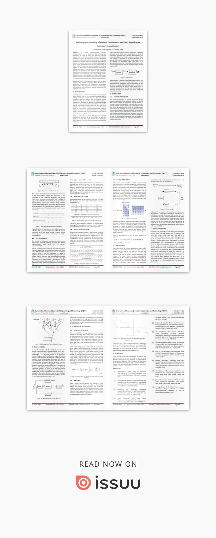 IRJET Review Paper on Study of Various Interleavers and