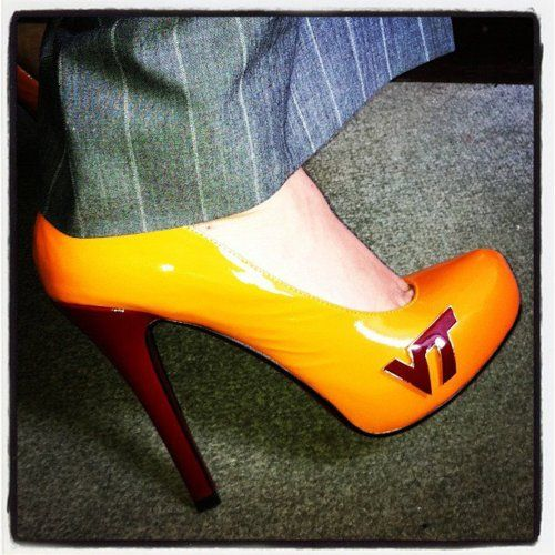 """Beautiful picture from Artemis B. who said her """"Hokie Heels are the hit of the boardroom…""""  Thanks for the picture. Love it."""