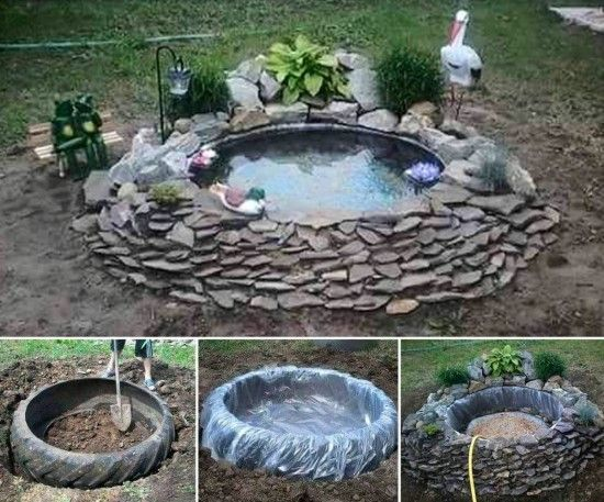 Tractor tire pond instructions easy diy pinterest for Peces para fuente exterior