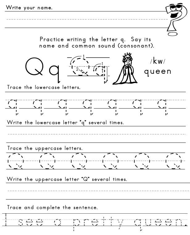 Letter Q Worksheet Plus Pretty Spelling Word From Last Week Letter Q Worksheets Kindergarten Worksheets Printable Kindergarten Worksheets