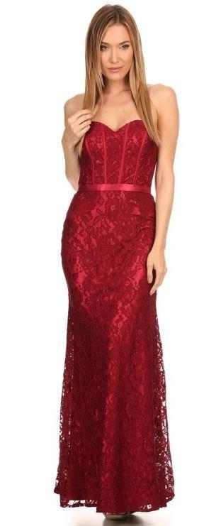 3e18dce7877f Eva Kind Of Love Burgundy Lace Strapless Maxi Dress