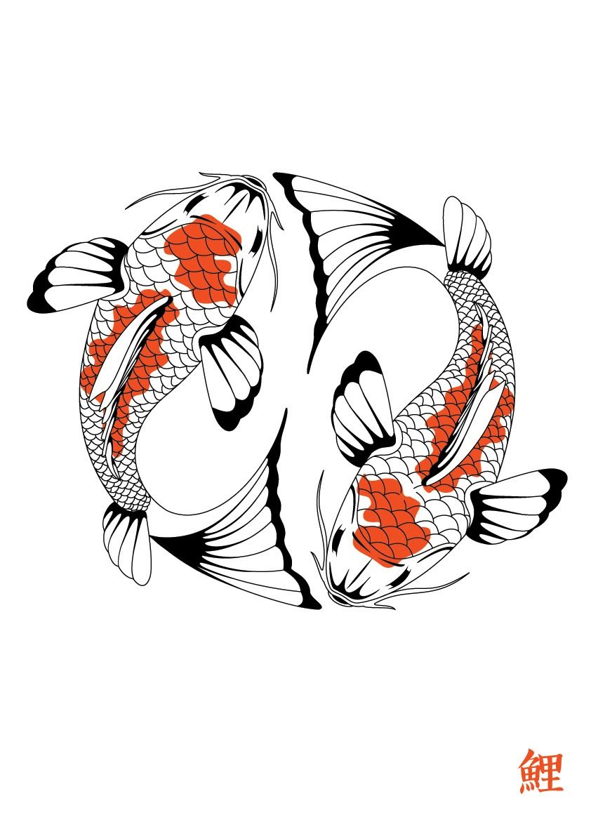 Koi 842 1 191 pixels zetangle muster vorlagen for Japanese koi carp fish