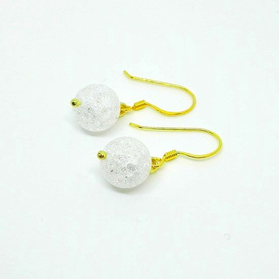 HANDMADE EARRINGS CRYSTAL QUARTZ GOLD with Crystal Quartz 10mm and  Goldplated Silver 925  29a287f4ed9