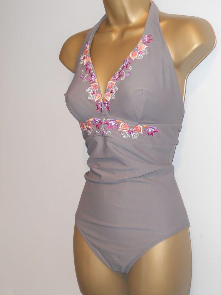 ecf45218fd7cd LADIES GREY / PINK GORGEOUS @ DEBENHAMS HALTERNECK SWIMSUIT SIZE 36DD  CONTROL #fashion #clothing