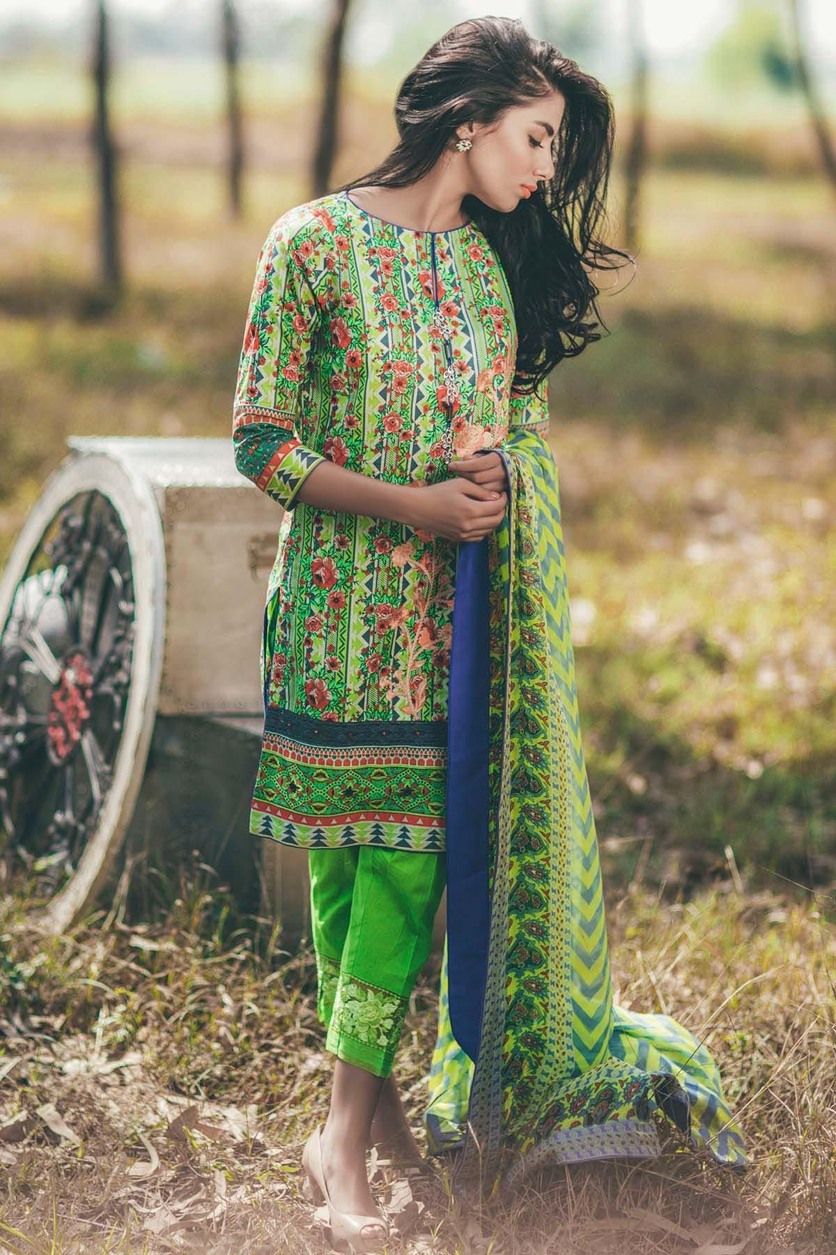a308aaf719 This beautiful Ready to Wear 3 Piece Prestige Green Chiffon Pakistani dress  online by Alkaram Studio Festival Spring Summer Eid Collection 2017  #Alkaram ...