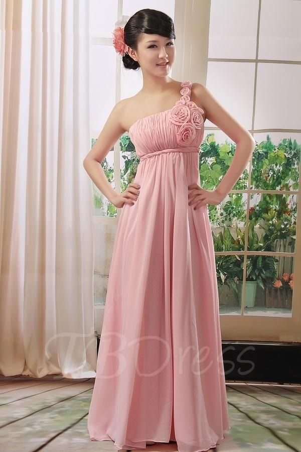 Ruched A-line One-shoulder Flowers Long Bridesmaid/Prom Dress