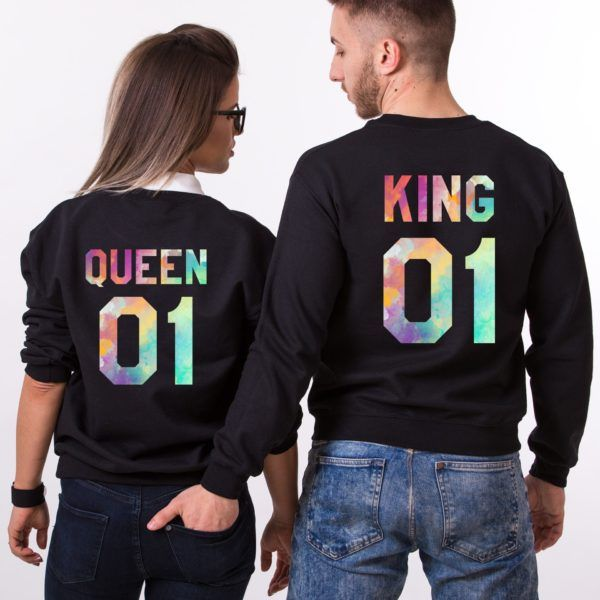 4079eec6a King and Queen, Watercolor, Matching Couples Sweatshirts in 2019 ...