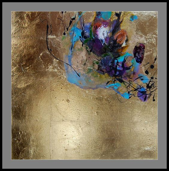 Abstract Painting With Oil Paint And Ink On Gold Leaf Art