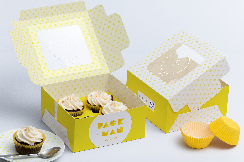 Download Four Cupcake Box Mockup 01 Cupcake Boxes Template Custom Cupcakes Box Mockup