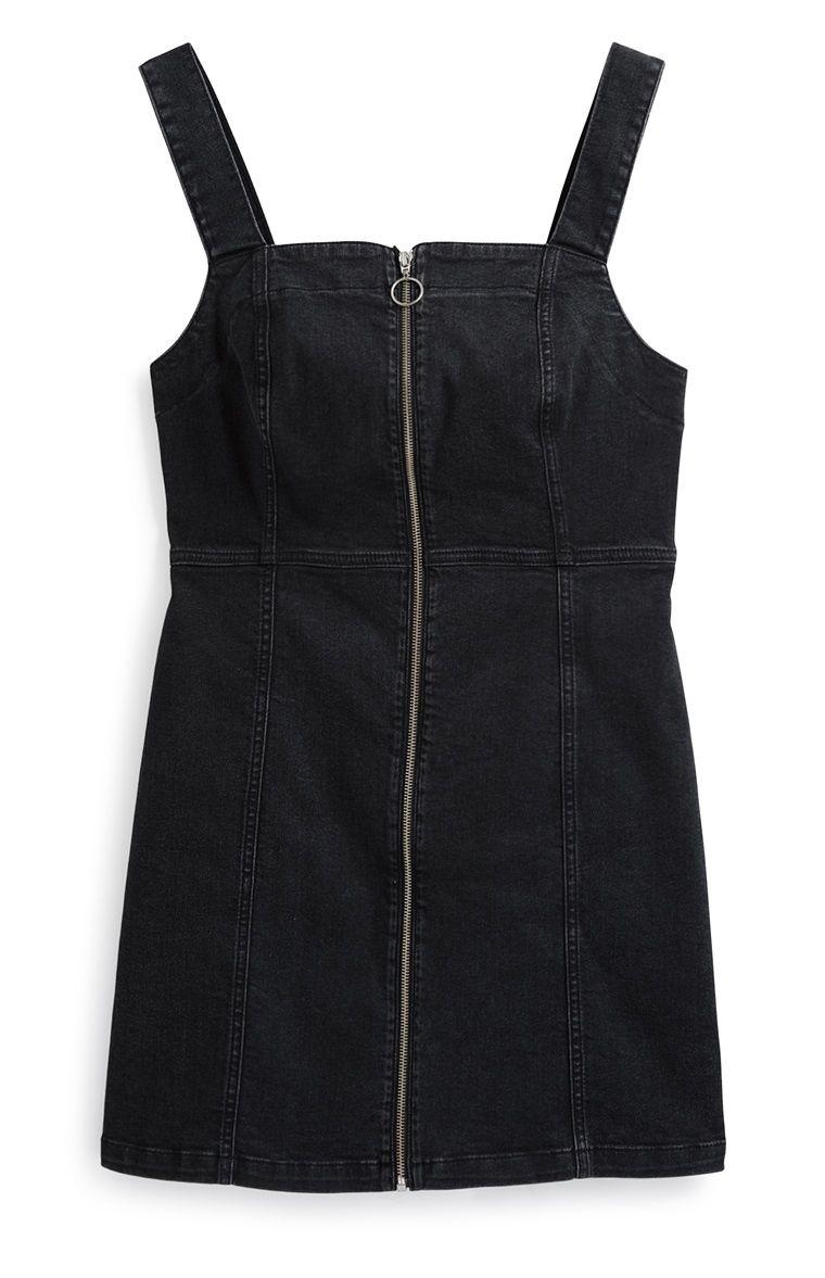 magasin en ligne ef9cb b069f Primark - Black Zip Denim Dress | primark in 2019 | Primark ...