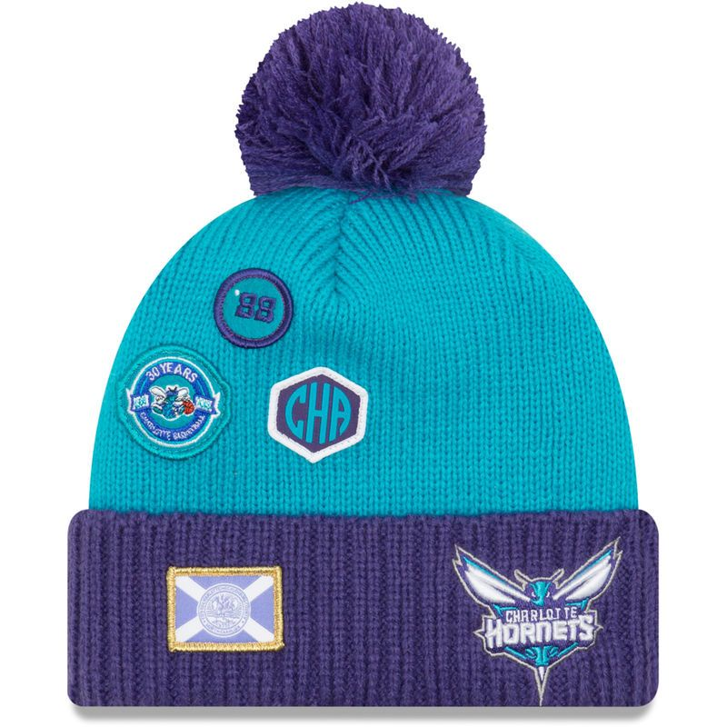 a49bdc35636 Charlotte Hornets New Era Youth Draft Cuffed Knit Hat With Pom – Teal Purple