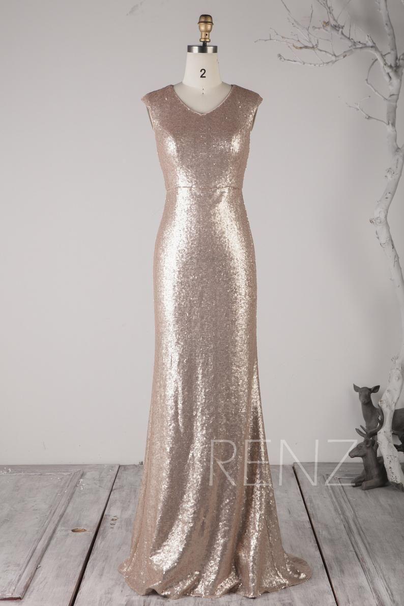 Party Dress Tan Sequin Bridesmaid Dress V Neck Wedding Dress Etsy Etsy Wedding Dress Sequin Bridesmaid Dresses Dresses [ 1191 x 794 Pixel ]