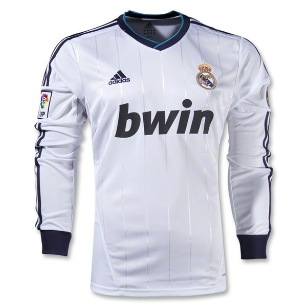 25c12d3d7 12 13 Real Madrid White Home Long Sleeve Soccer Jersey Shirt Replica ...