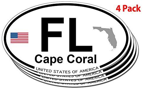 Cape coral florida oval sticker 4 pack cape coral florida