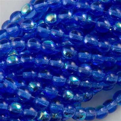 100 Czech 6mm Pressed Glass Round Beads Sapphire AB 30050X