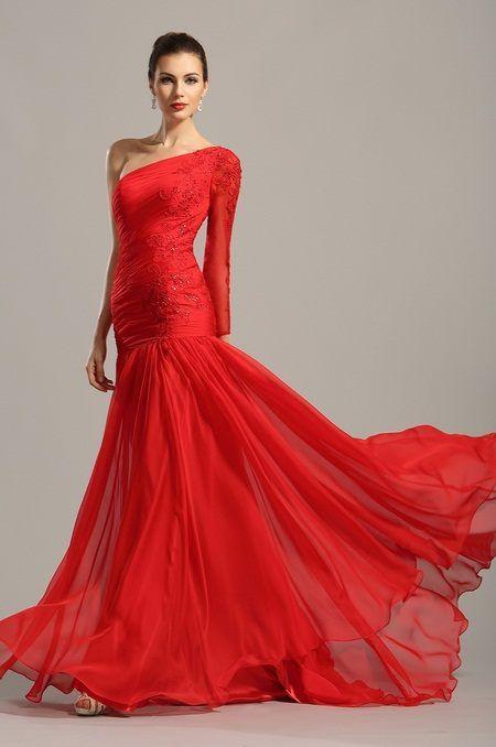 Dlhé červené spoločenské šaty  66aef6df55b