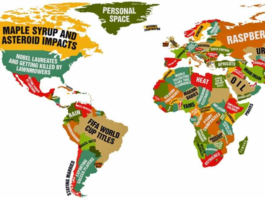This Funny World Map Shows What Every Country Leads The World In - best of world map countries picture