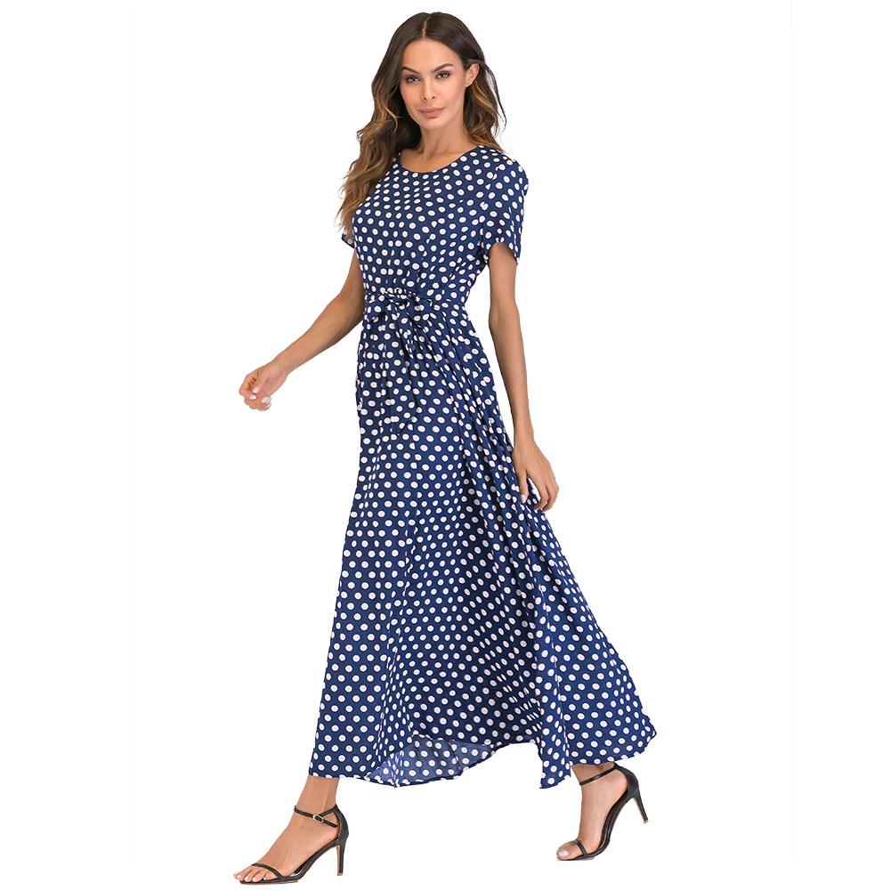 Long Polka Dot Dress Polka Dot Dress Short Sleeve Dresses Vintage Maxi Dress [ 1001 x 1001 Pixel ]