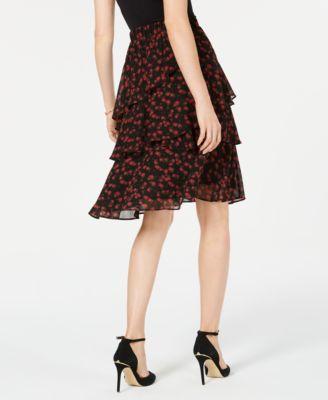 56a06e0ef0cba Michael Michael Kors Eden Rose Tiered Skirt - Red P XS