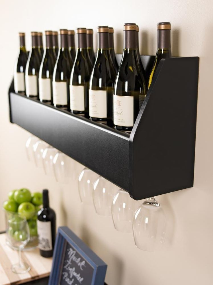 Floating Wall Mount Wine Rack Glass Holder Storage Bar Rail Hang