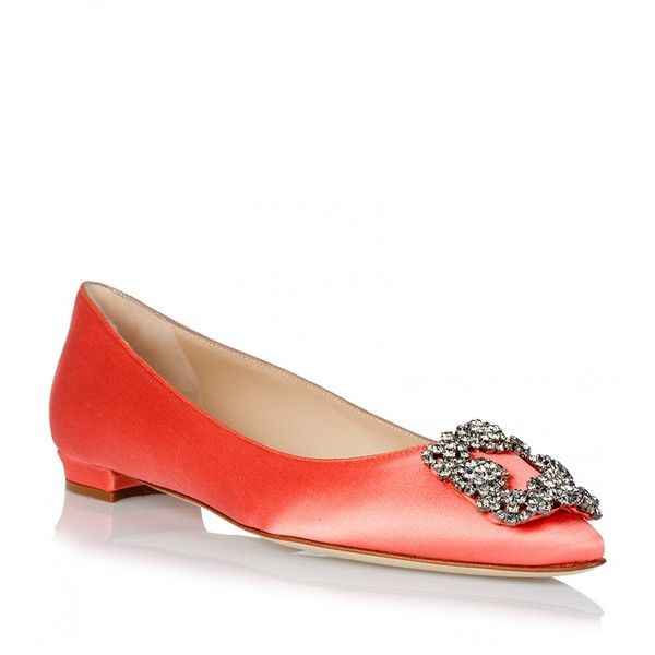 26993a87df7 Manolo Blahnik Flat Hangisi satin peach (£785) ❤ liked on Polyvore  featuring shoes